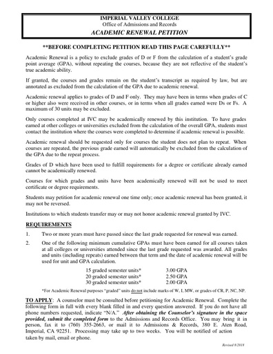 Petitions - Imperial Valley College - Imperial Valley College