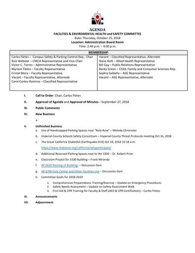 Agenda FEHSC 2018 10 25