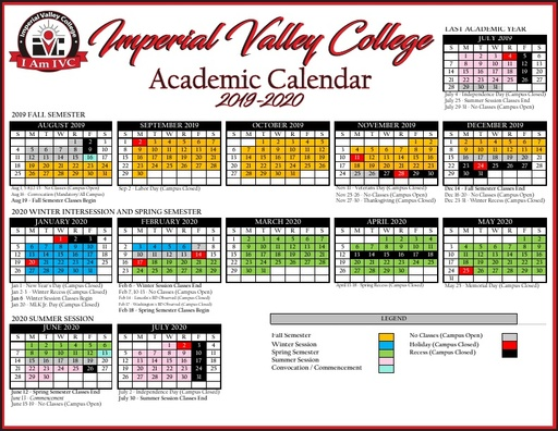 Spring 2020 Academic Calendar.Academic Calendars Courses Programs Imperial Valley College