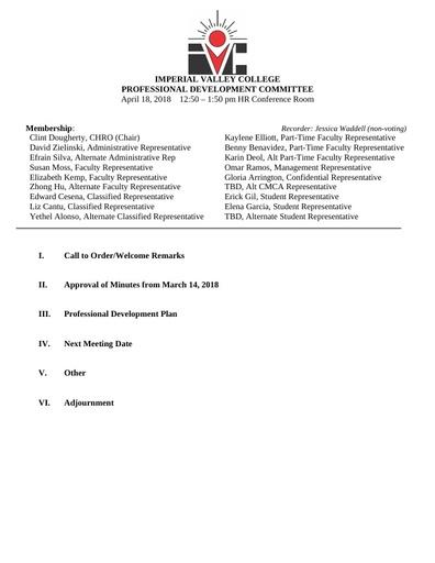 Professional Development Committee Agenda 04 18 18