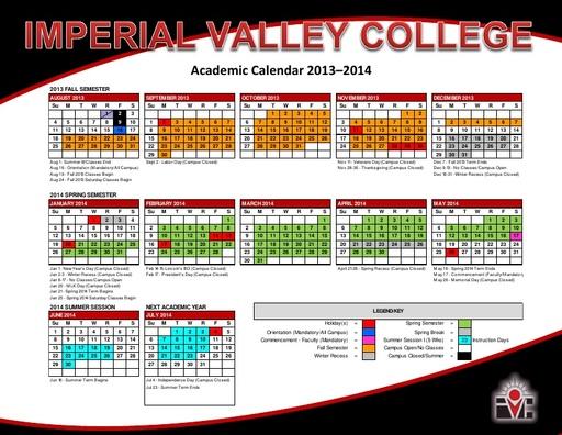 2013-14 IVC Academic Calendar
