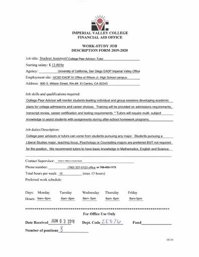 Student Assistant-College Peer Advisor-UCSD/EAOP-Junior High School Campus