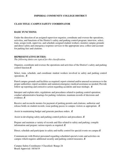 Campus Safety Coordinator (October 16, 2019)