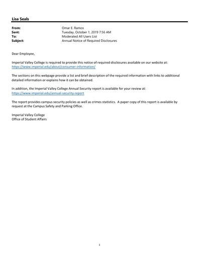 2019 Employee Annual Disclosure Email