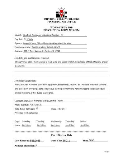 Student Assistant-Instructional Asst-ICOE/Alternative Education, Ocotillo Academy School