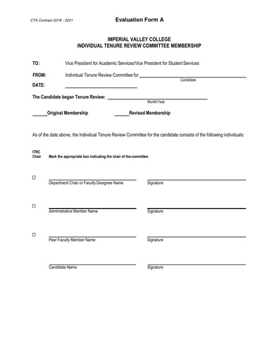 CTA Contract 2018 2021 Evaluation Form A