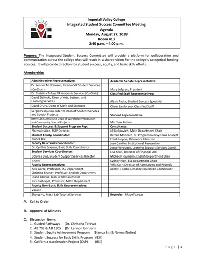 Agenda Integrated Student Success Committee 2018-08-27