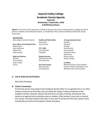Academic Senate agenda 2018-09-05