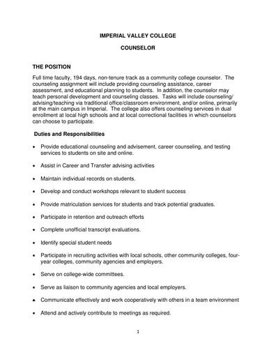 Counselor - Non Tenure Track - Job Description (January 2020)