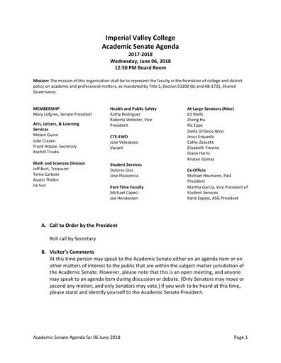 Agenda Academic Senate 2018-06-06