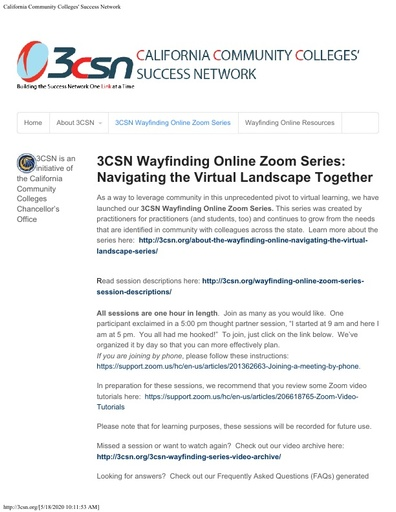 Wayfinding Online Navigating the Virtual Landscape Together Zoom Session Schedule May 18 22