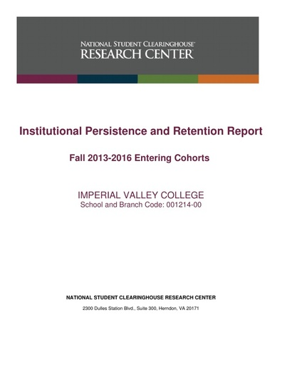 Persistence & Retention 2013-16 Cohort Report