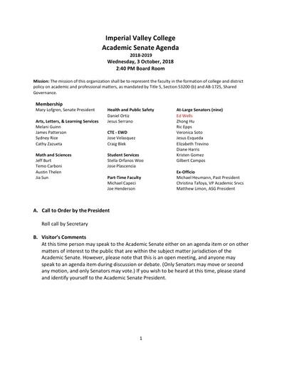 Academic Senate agenda 2018-10-03