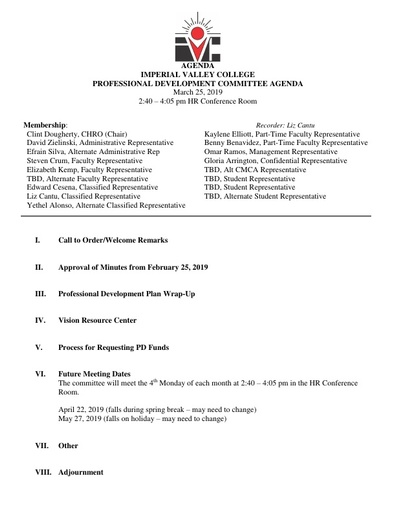 2019 March Professional Development Committee Agenda