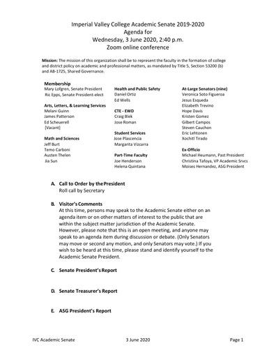 Academic Senate agenda 2020 06 03
