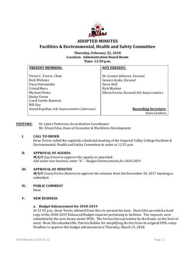 Minutes FEHSC 2018 02 22
