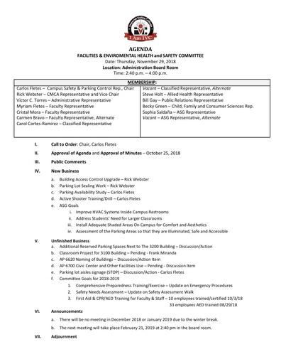 Agenda FEHSC 2018 11 29