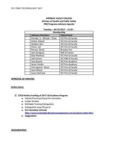 2017-03-27 Fire Technology Program Advisory Committee - Agenda
