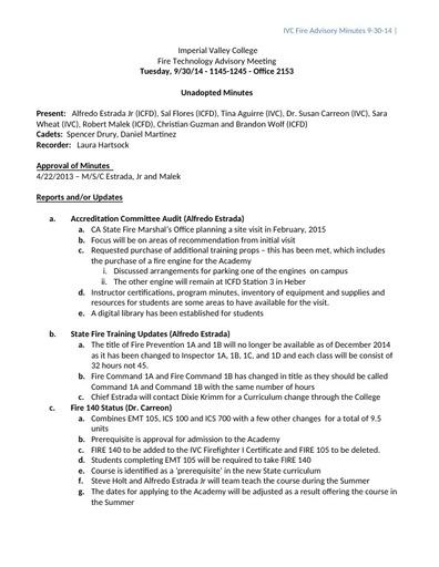 2014-09-30 Fire Technology Program Advisory Committee Minutes