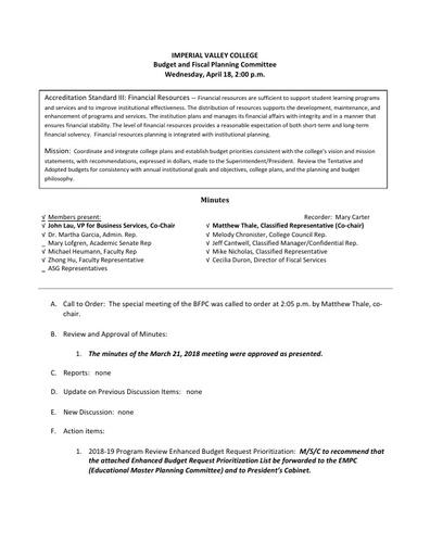 BFPC Minutes 04-18-18