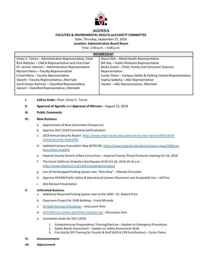 Agenda FEHSC 2018 09 27