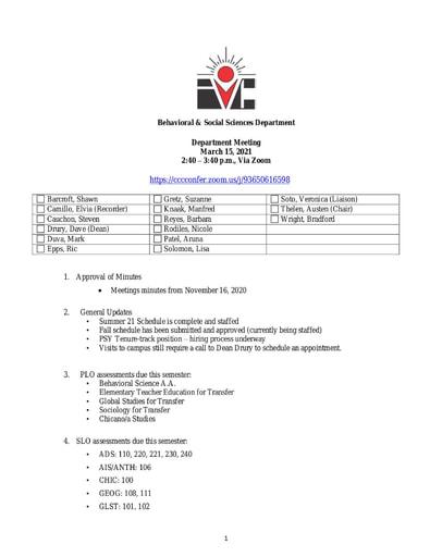 Agenda BSS Dept Mtg 3 15 2021