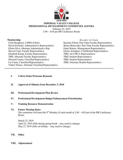 Professional Development Committee Agenda 2 25 19