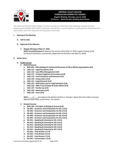 Agenda Curriculum 2018-06-07
