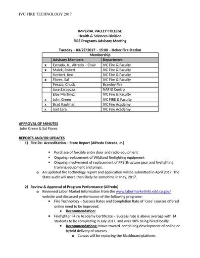 2017-03-27 Fire Technology Program Advisory Committee Minutes