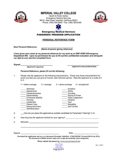 Paramedic Application Personal Reference Form
