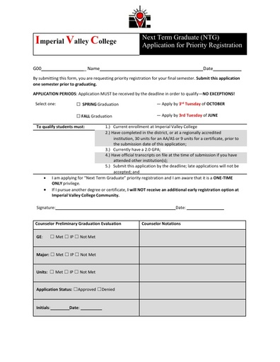 Next Term Graduation Application