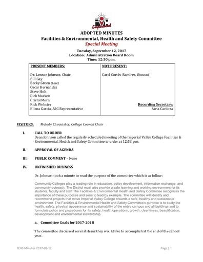 FEHS Minutes 2017-09-12 Special Mtg.