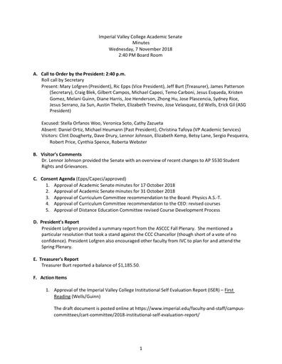 Academic Senate minutes 2018-11-07