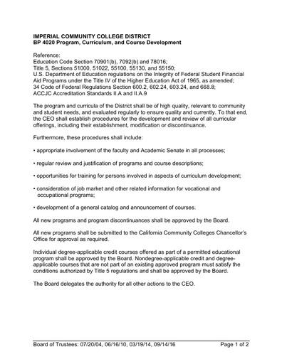 BP 4020 Program, Curriculum, and Course Development