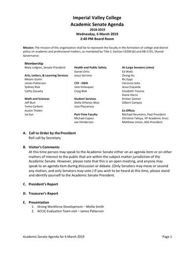 Academic Senate agenda 2019 03 06