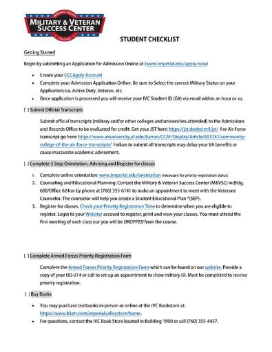 MVSC Center Getting Started Checklist