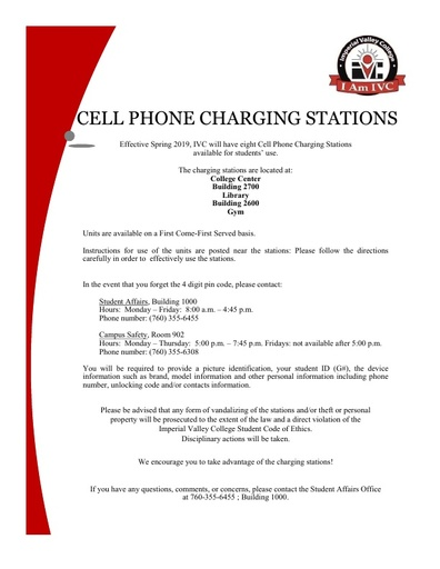 Cell Phone Charging Stations Information
