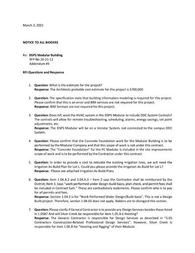 Bid No. 20-21-12 DSPS Modular Building - Addendum #3 RFI Responses
