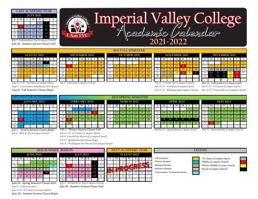 2021-22 IVC Academic Calendar