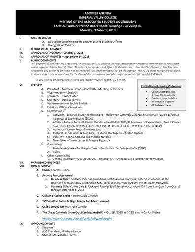 Agenda ASG 2018 10 01