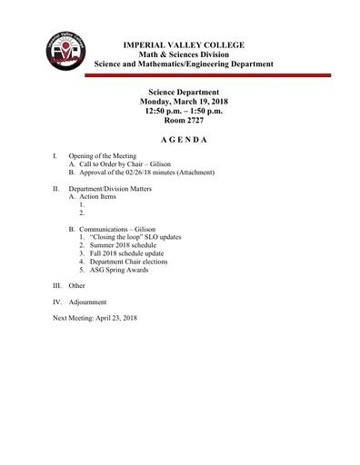 2018-03-19 SME Science Agenda