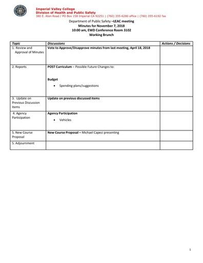 2018_11_07 Law Enforcement Advisory Committee Meeting Agenda