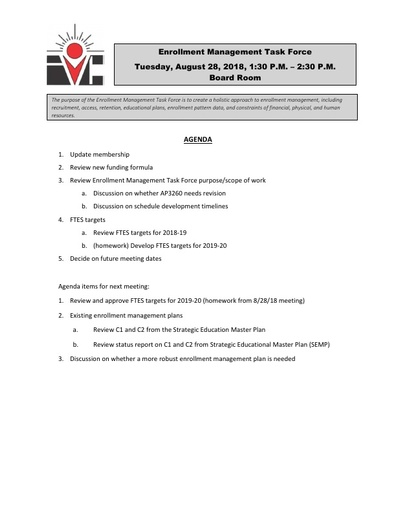 Agenda Enrollment Management Task Force 2018 08 28