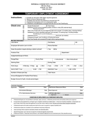 Temporary Employment Agreement ICCD