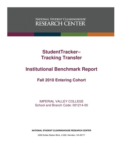 Transfer Track Report Fall 2010 to Fall 2016  Cohort