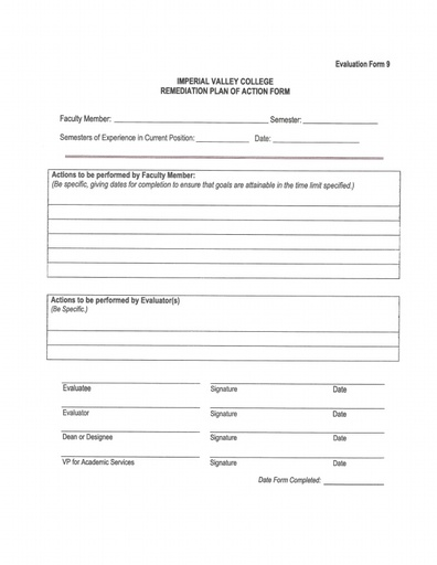 Part-Time Faculty Evaluation Form 9