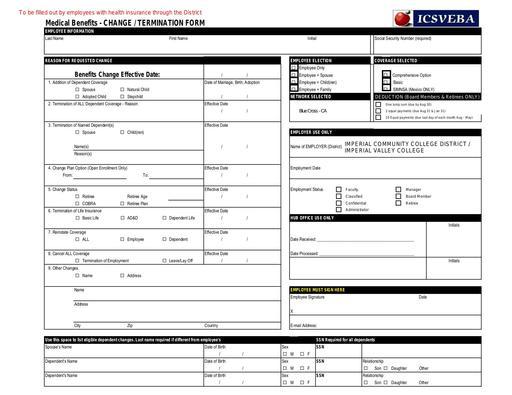 Change of Address 2019 Insurance Form