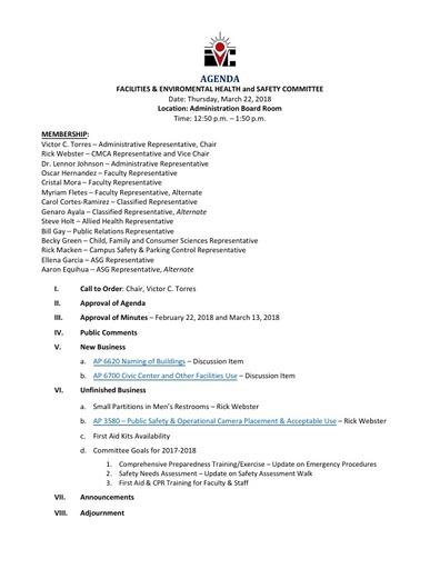 Agenda FEHSC 2018 03 22
