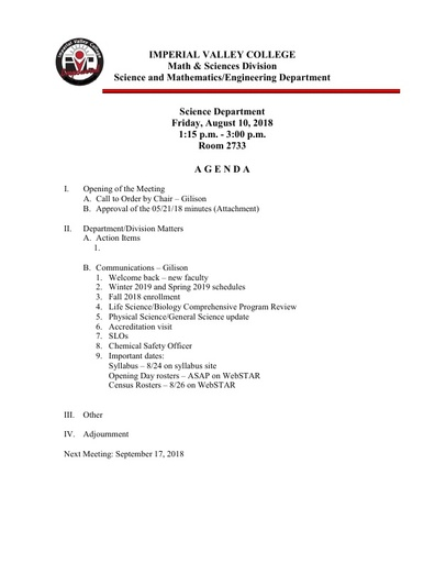2018-08-10 SME Science Agenda
