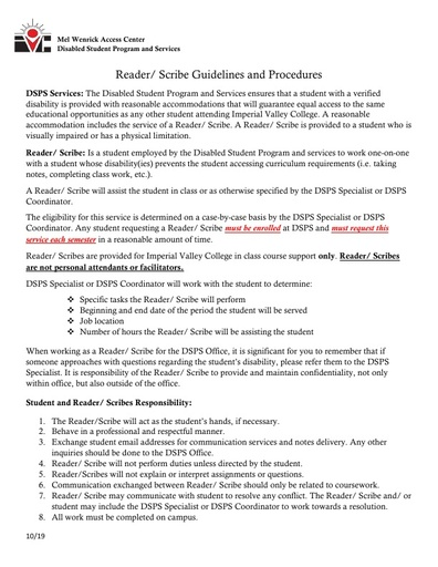 Reader and Scribes Guidelines and Procedures
